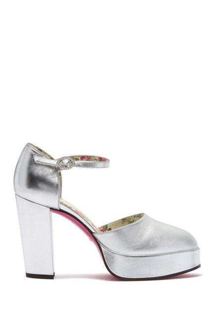 Item - Silver Agon Block Heel Platform Pumps Size EU 38 (Approx. US 8) Regular (M, B)