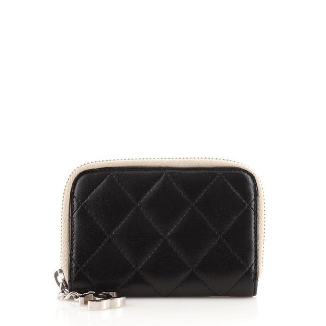 Item - Black Cc Charm Zip Coin Purse Quilted Lambskin Small Wallet