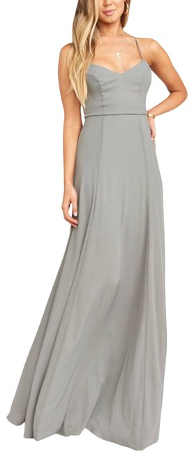 Item - Gray Smym Bridesmaid Godshaw Goddess Gown Lace Up Bodice Small Formal Dress Size 4 (S)