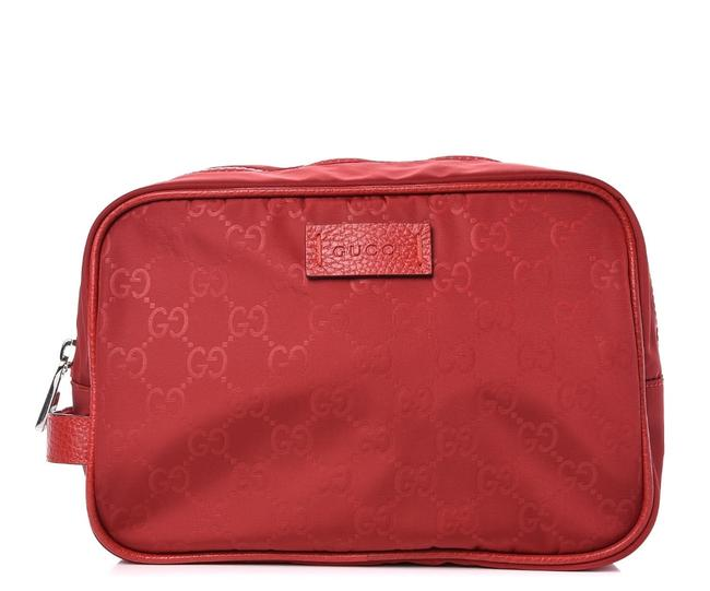 Item - Red Nylon Pouch Unisex Cosmetic Bag