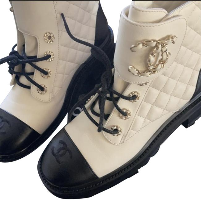 Item - Black and White Combat Boots/Booties Size EU 38 (Approx. US 8) Regular (M, B)