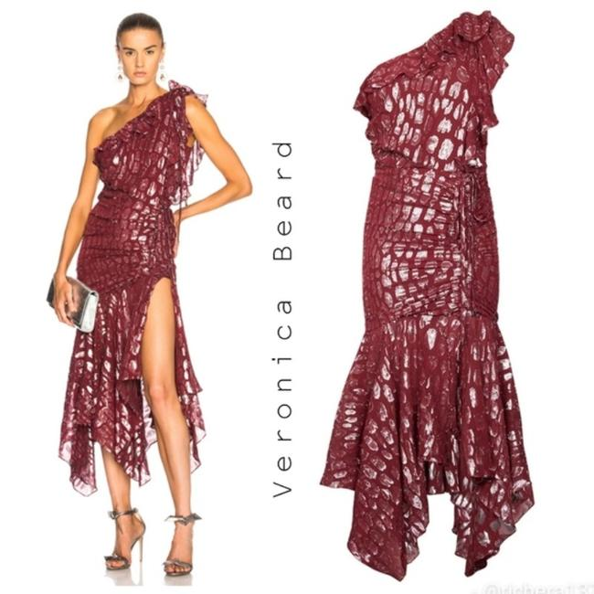 Item - Red Silver Leighton Long Formal Dress Size 4 (S)