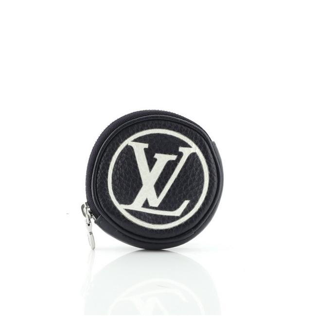 Item - Blue Round Coin Purse Keychain Taurillon Leather Wallet