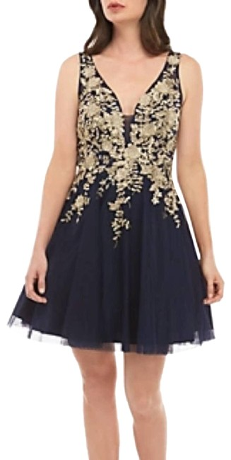 Item - Blue Beaded Embroider Bodice Navy 0 Short Cocktail Dress Size 0 (XS)