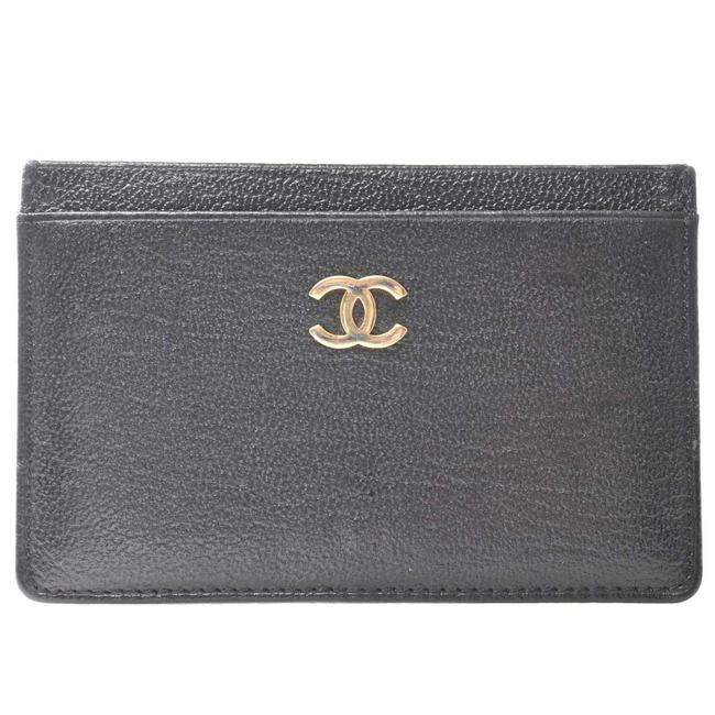Item - Black Leather Coco Mark Card Case Wallet