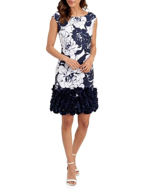 Item - White and Blue Navy Ivo Mid-length Cocktail Dress Size 16 (XL, Plus 0x)