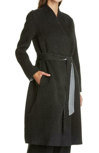 Eileen Fisher Charcoal Wool & Cashmere Belted Coat Size Petite 14 (L) Eileen Fisher Charcoal Wool & Cashmere Belted Coat Size Petite 14 (L) Image 1
