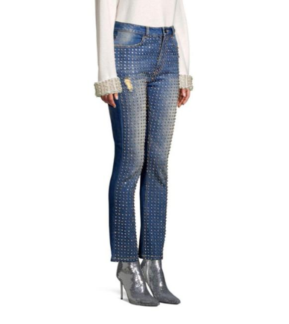 Item - Blue Distressed Fabrice Crystal Embellished Boot Cut Jeans Size 27 (4, S)