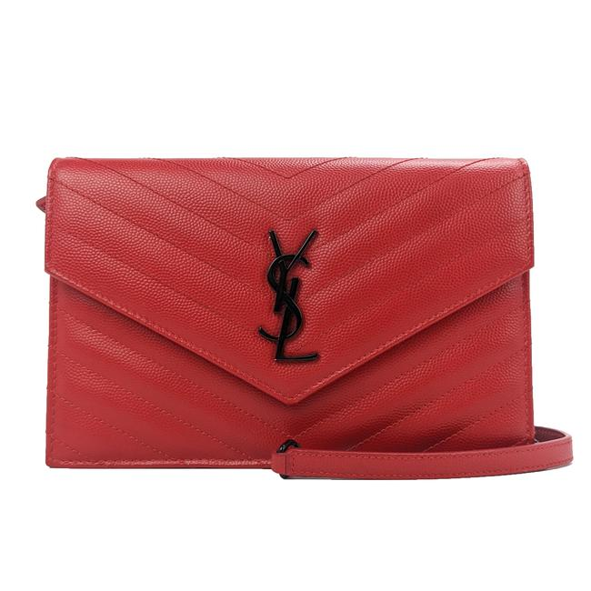 Item - Wallet on Chain Small Red Leather Cross Body Bag