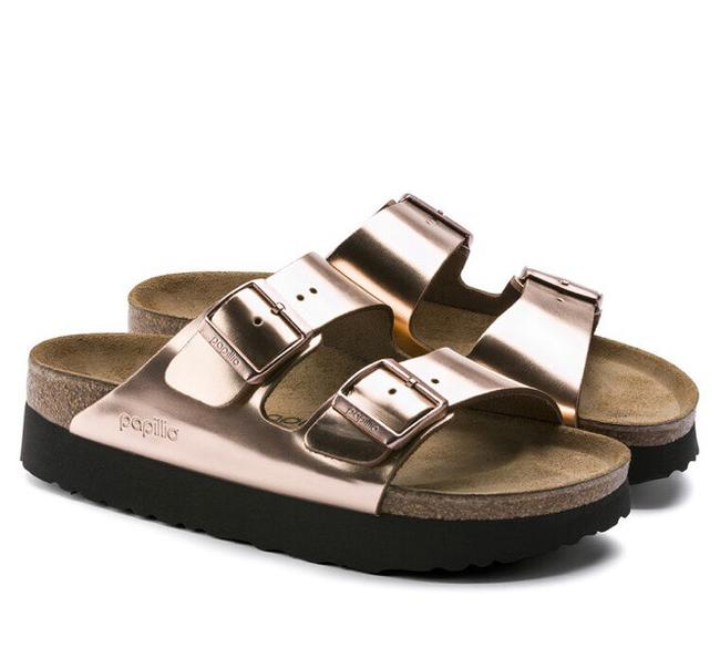 Item - Metallic Copper Arizona Platform Sandals Size US 7 Narrow (Aa, N)