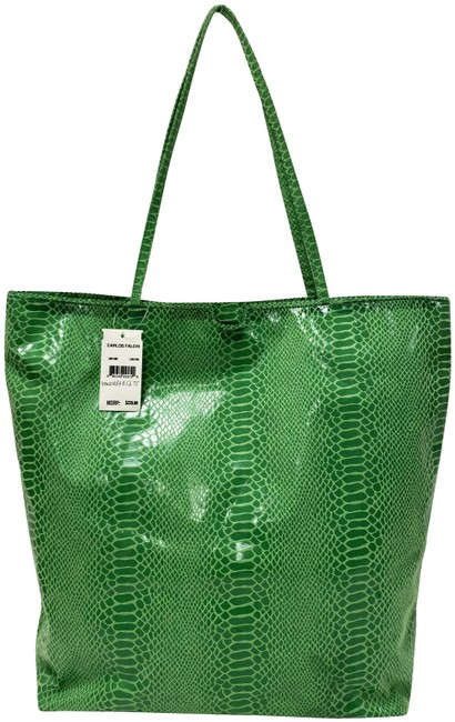 Item - Python Embossed Lime Green Leather Tote