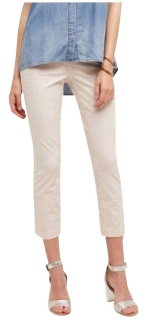 Item - White Red Anthro Pilcro Striped Cropped Pants Ankle Blushed Capris Size 2 (XS, 26)