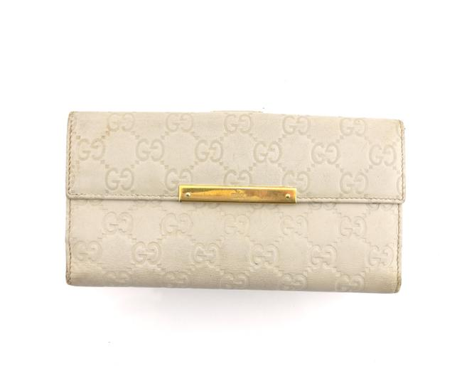 Item - Ivory White Clutch Gg ssima Embossed Monogram Leather Long Italy Wallet