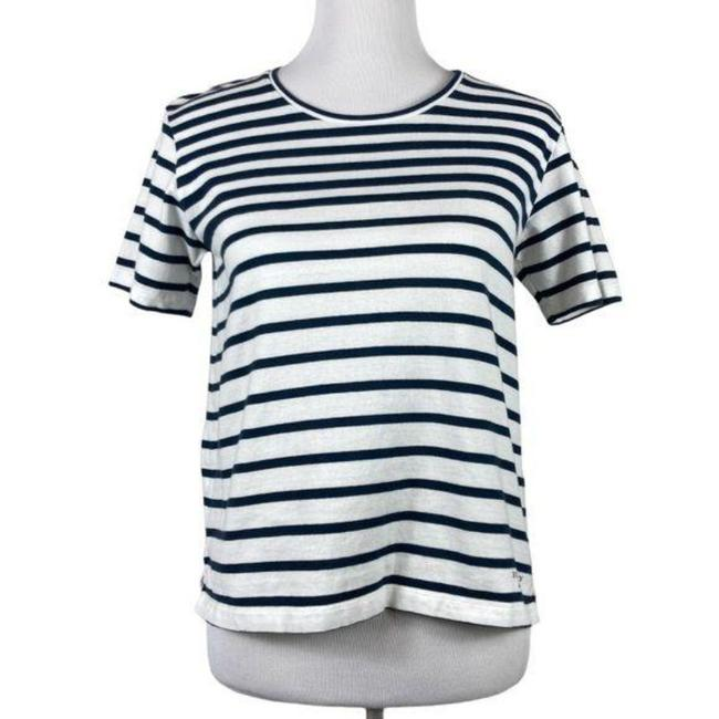Item - White Blue Crew Neck Striped Sleeve Cotton Tee Shirt Size 4 (S)
