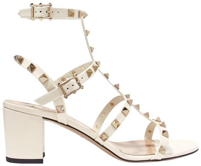 Item - Ivory Garavani The Rockstud 60 Patent-leather Sandals Size EU 37.5 (Approx. US 7.5) Regular (M, B)