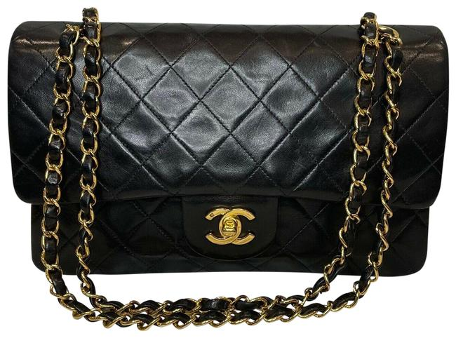 Item - Classic Flap Quilted Classic Double Black W/ Gold Hardware Lambskin Leather Shoulder Bag