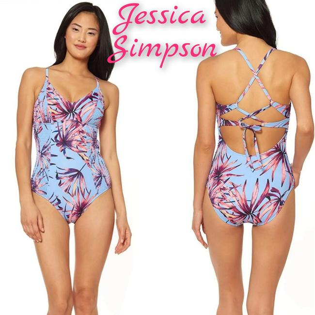 Item - Baby Blue Tropical V-neck Cross Back One-piece Bathing Suit Size 8 (M)
