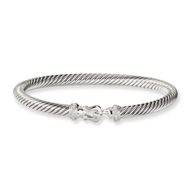 Item - White Cable Buckle with Diamonds Bracelet