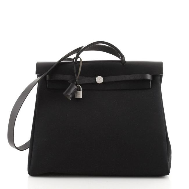 Item - Herbag Toile and Leather Mm Black Canvas Tote