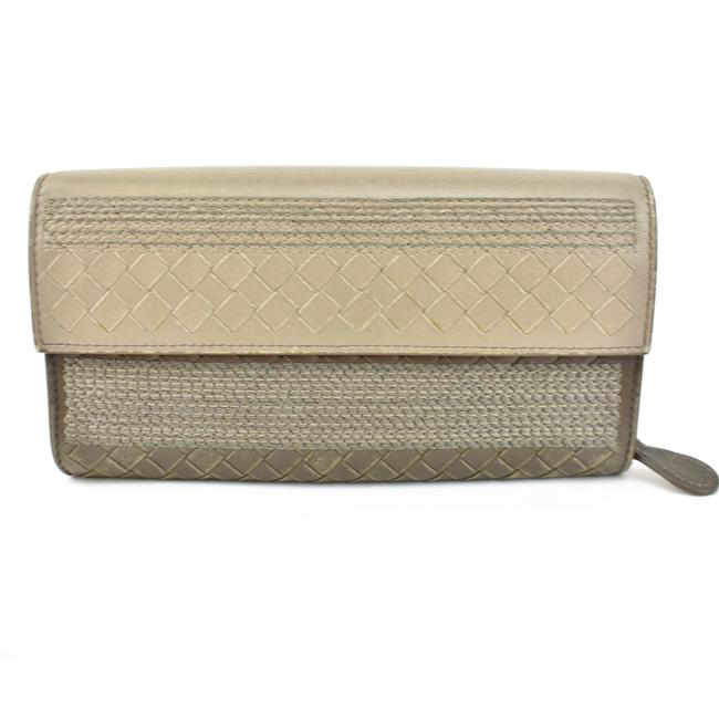 "Item - Taupe ""Intrecciato"" Leather Long (Mq) Wallet"