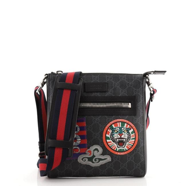 Item - Night Courrier Zip Gg Coated with Applique Small Black Canvas Messenger Bag
