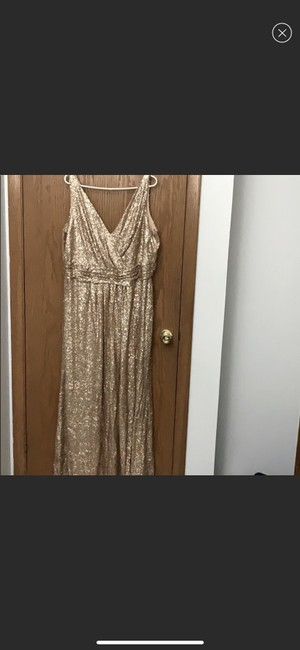 Item - Gold Sequined V-neck Formal Bridesmaid/Mob Dress Size 24 (Plus 2x)