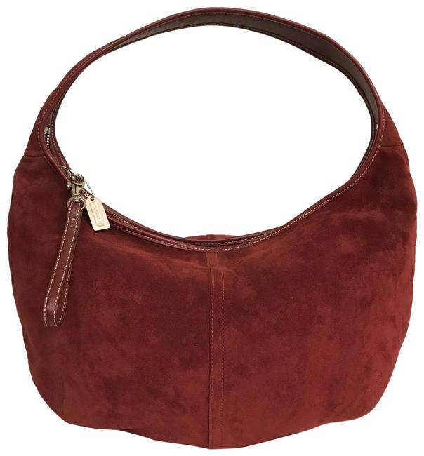 Item - Rare Ergo Suede 9222 Burgundy Red Silver Leather Hobo Bag