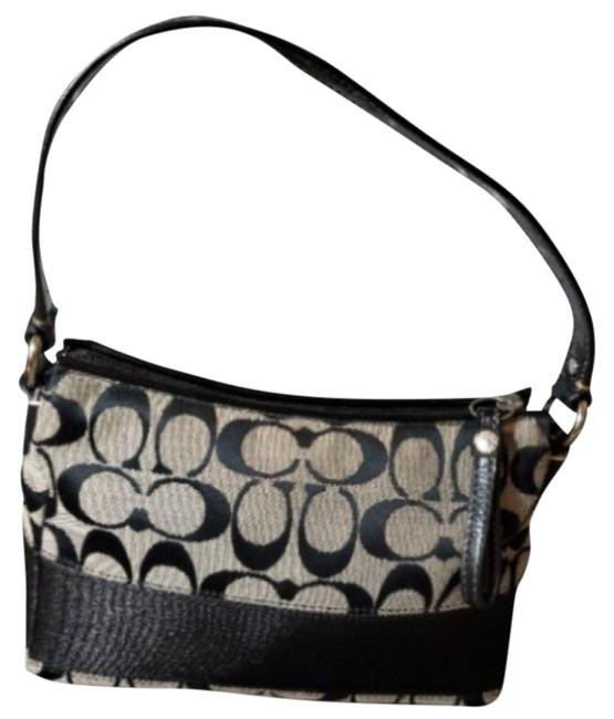 Item - Small Signature Black Canvas and Leather Baguette