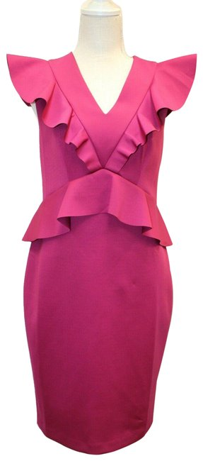 Item - Purple/Pink Fit and Flare Back Zip Ruffle Tb Us S M Short Work/Office Dress Size 8 (M)