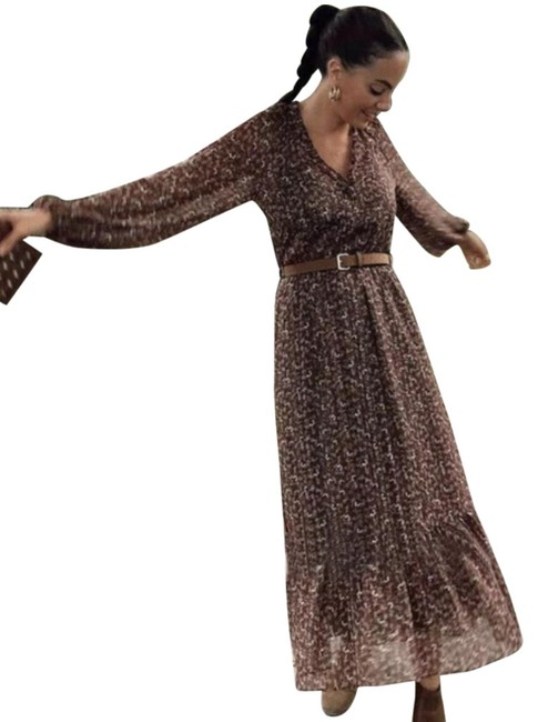 Item - Brown Kate Middleton Belted Print Mid-length Casual Maxi Dress Size 16 (XL, Plus 0x)