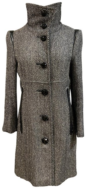 Item - Black/Silver Women's Gray Wool with Leather Detailing Coat Size 2 (XS)