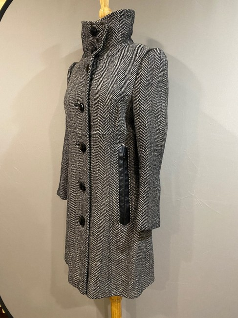 Mackage Black/Silver Women's Gray Wool with Leather Detailing Coat Size 2 (XS) Mackage Black/Silver Women's Gray Wool with Leather Detailing Coat Size 2 (XS) Image 2