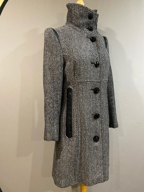Mackage Black/Silver Women's Gray Wool with Leather Detailing Coat Size 2 (XS) Mackage Black/Silver Women's Gray Wool with Leather Detailing Coat Size 2 (XS) Image 3