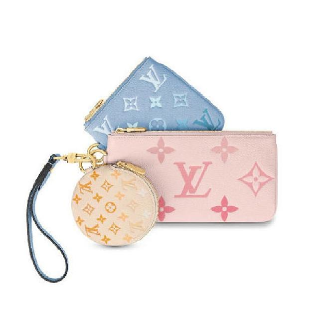Item - Giant Trio Pouch By The Pool Pink Blue Yellow Monogram Empreinte Leather Clutch