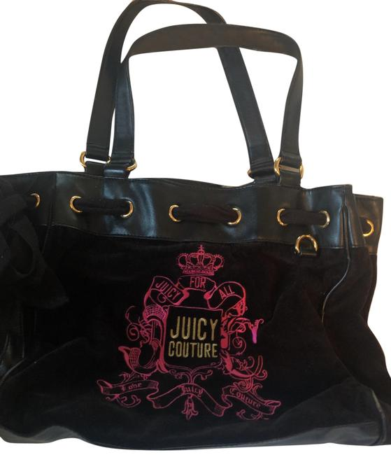 Item - Black and Pink and Yellow Emblem. Leather Bottom Leather Handle Hard Velvet Around. Hobo Bag