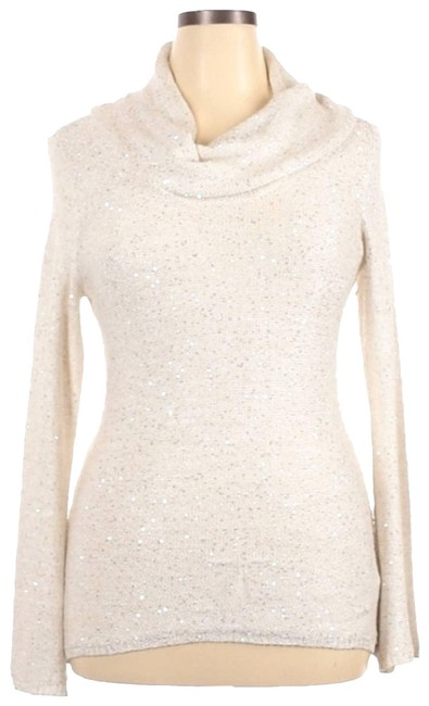 Item - Cream Cowl Neck Sequin Shimmer Pullover Sweater Cardigan Size 12 (L)