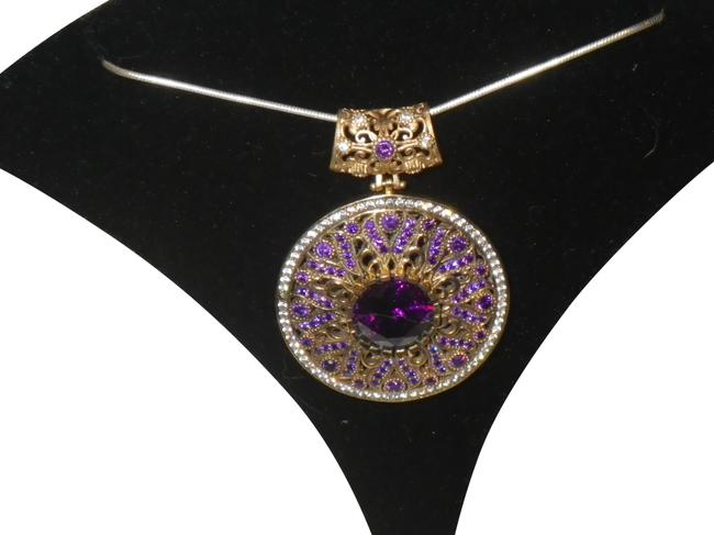 Item - Purple and White Crystals Circular Pendent