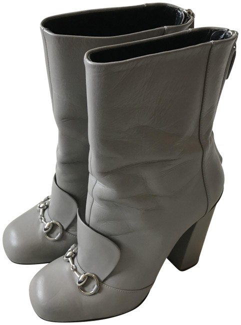 Item - Gray Horsebit Leather Boots/Booties Size EU 38.5 (Approx. US 8.5) Regular (M, B)