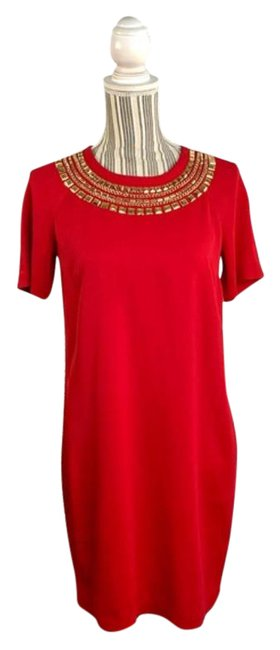 Item - Red Gold Studded Shift Mid-length Cocktail Dress Size 4 (S)