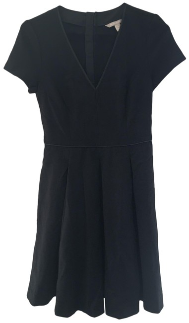 Item - Black New Womens V Neck Short Sleeve A Line Zipper Mid-length Formal Dress Size 0 (XS)