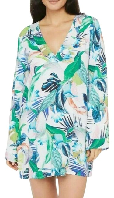 Item - White Kimono Floral Suit - Small Cover-up/Sarong Size 4 (S)