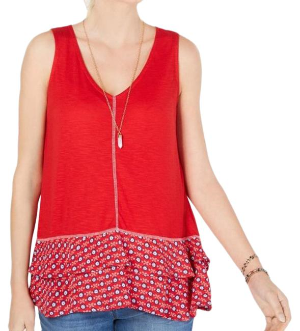Item - White Red Ruffled-hem Sleeveless Tank Top/Cami Size 4 (S)