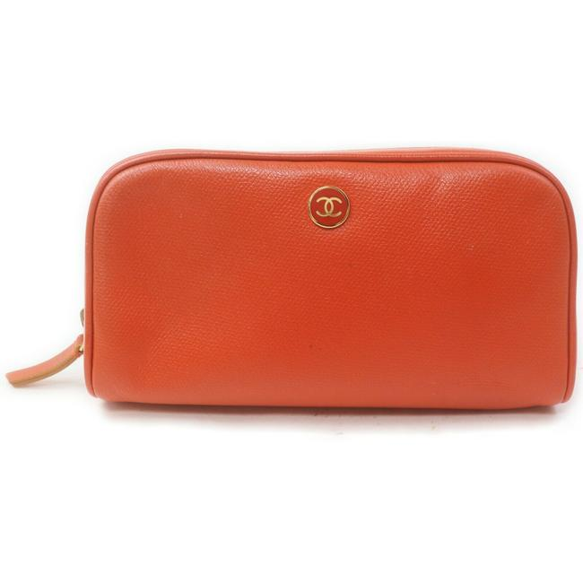 Item - Orange Pouch Leather Make Up 863191 Cosmetic Bag