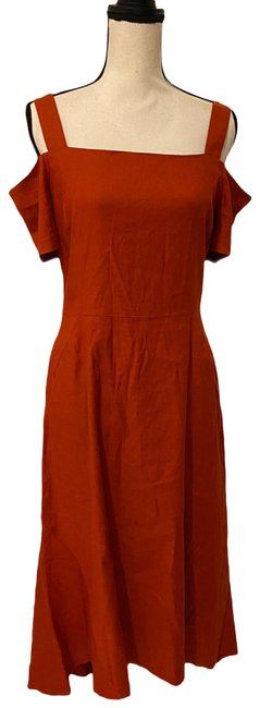 Item - Orange Red Linen Mid-length Casual Maxi Dress Size 10 (M)
