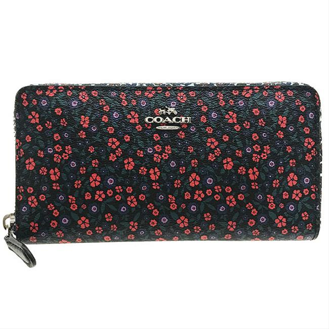 Item - Black Purse Lunch Floral Mix Print Coated Canvas Leather Accordion Zip Around Pvc Multicolor Bright Red F59066 Flower Wallet