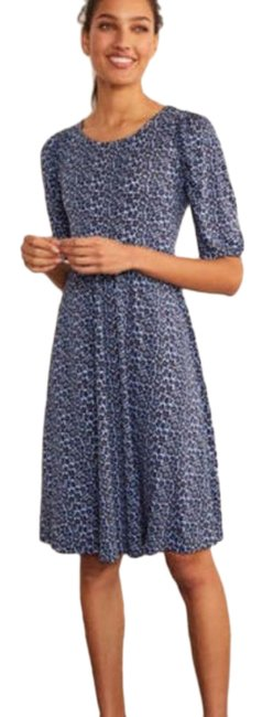 Item - Blue Jersey Lily Puff Sleeve Mid-length Short Casual Dress Size Petite 8 (M)