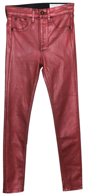 Item - Red High Rise Coated Ankle Metallic Skinny Jeans Size 25 (2, XS)