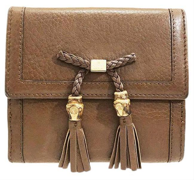 Item - Brown W Bamboo Hook Leather 269984 Ribbon Wallet