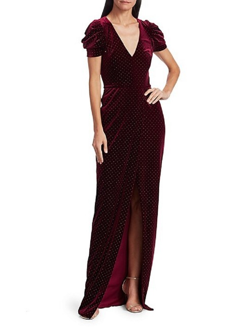 Item - Bordeaux Gold Ml Puff-sleeve Studded Gown Long Formal Dress Size 10 (M)