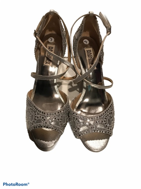Item - Silver Winter Pumps 1/2 Wedges Size US 6.5 Regular (M, B)